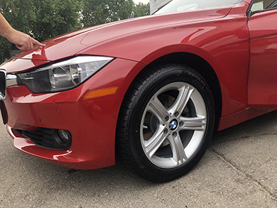 Polished red BMW.