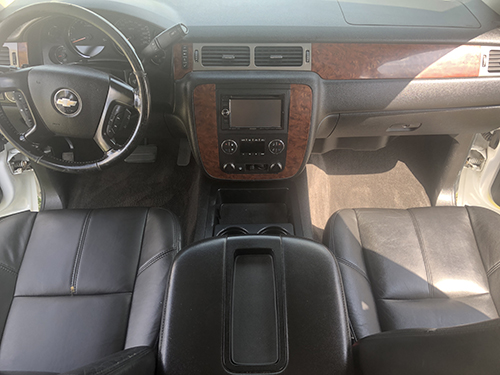 Chevy interior detail with conditioned leather seats.
