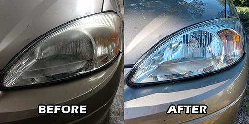 Auto detail headlight restoration special service