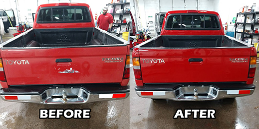 Red truck before and after of color rejuvenation special service